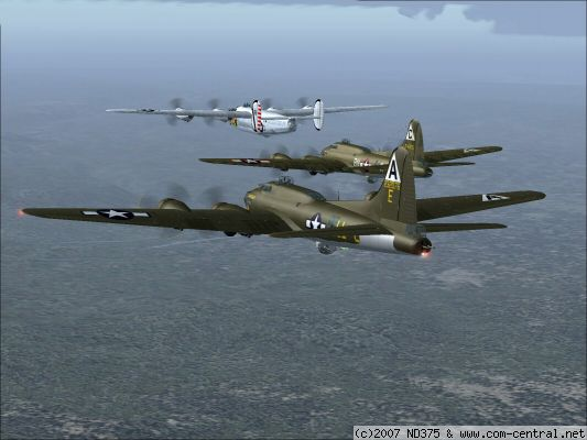 Click to view full size image  ==============  A Special Delivery  On our way in to a target, I snapped this picture of our close formation. Bob (Maple One) lead plane in the B-24, Gary (Freebird) number two with the B-17 and then me, John (Haunted) in the second B-17. Planes are from the
